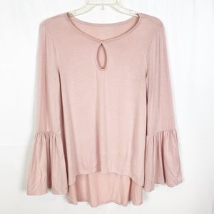 ANA Soft Pink Long Bell Sleeve Hi/Low Tunic-Small
